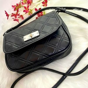Tommy Hilfiger Black Quilted Leather Crossbody Bag